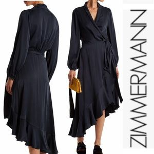 Zimmerman Navy Silk Asymmetric Flounce Wrap Dress1